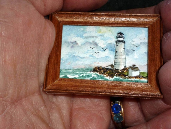 Original Miniature Painting in Watercolor - Boston Lighthouse