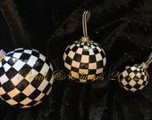 """Black & White Check Christmas Ornament with Rhinestone trim-Hand Painted- """"MADE to ORDER""""- Lg Size 4.5"""" (Listing is for 1 Ornament)"""