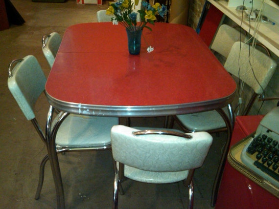 Items similar to 50 39 s retro formica table and six chairs on etsy - Formica top kitchen table ...