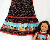 Girl apron doll apron ABC print girl and doll apron set fits American Girl dolls