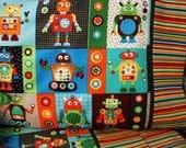 Robot nursery bedding robot toddler sheets robot top sheet stripe bottom sheet robot pillowcase 3 pc set