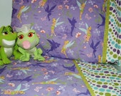 Girl toddler bedding Tinkerbell design fabric toddler bed and crib sheets set 3 pc. personalized