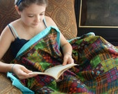 """Flannel travel blanket 38"""" X 53""""  child blanket cozy double layer quilted plaid owls"""