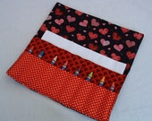 Valentine crayon holder hearts crayon roll crayon caddy organizer holds paper stickers up to16 crayons