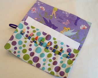 Crayon roll up, crayon caddy, crayon holder Tinkerbell organizer has pocket for paper, stickers holds 16 crayons