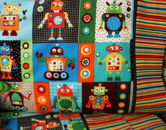 RESERVED FOR BECKY robot bedding set bumper pad sheets blanket Balance Not for sale to Others