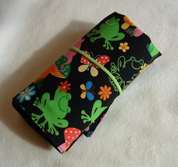 Crayon roll up, crayon caddy, crayon holder Cute frogs print organizer has pocket for paper, stickers, holds 16 crayons