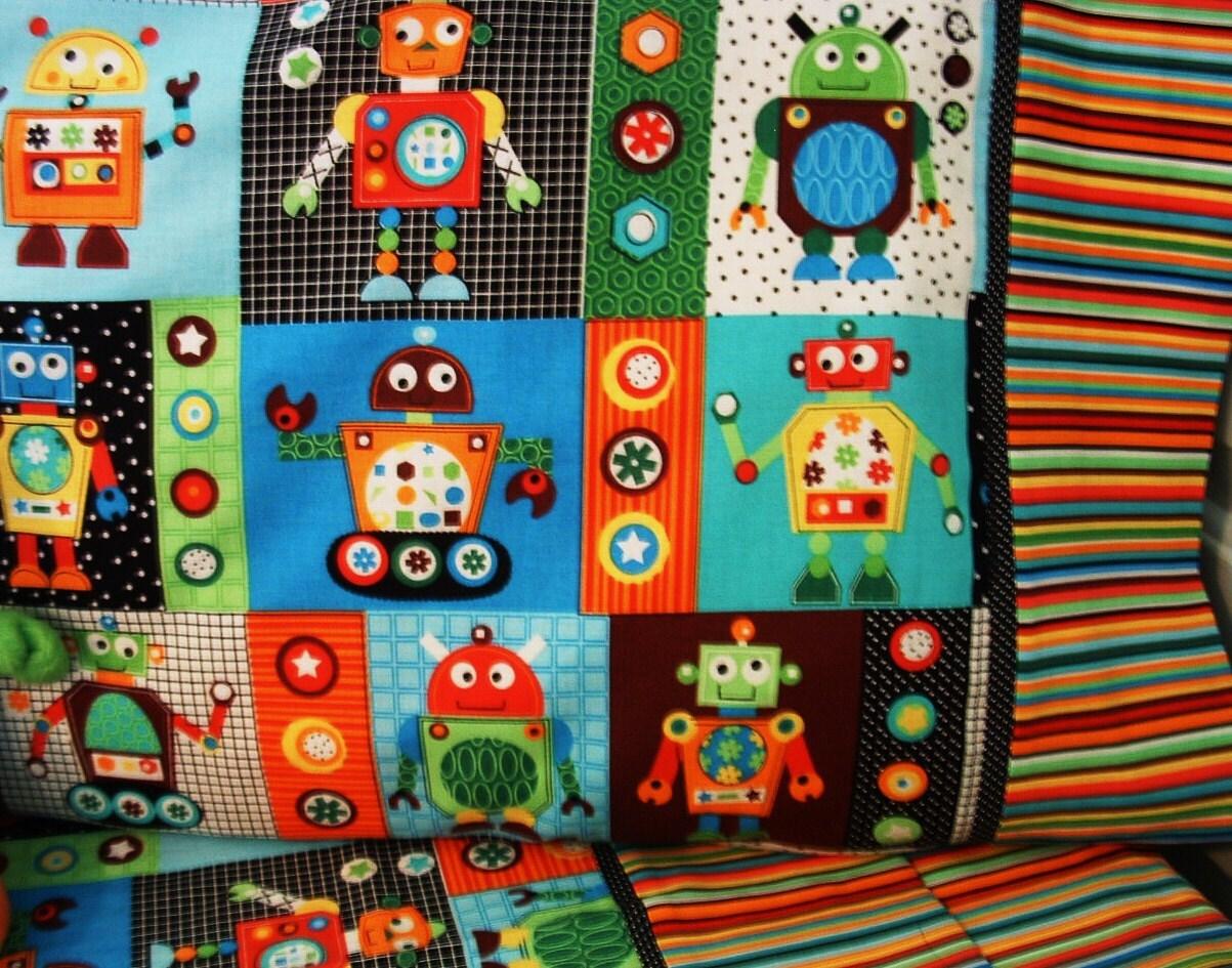reserved for rachel custom robot nursery bedding quilt sheet - 🔎zoom