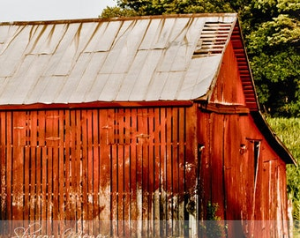 The Old Red Barn - Fine Art Photograph, 8x10 Photo, Wall Art, Photograph, Fine Art Print, Red Barn Print, Red Barn Photo