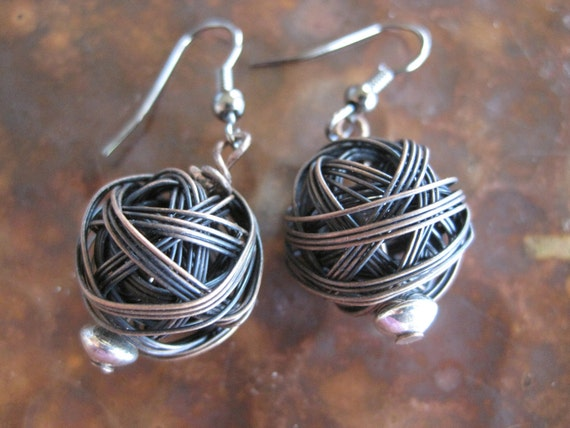 Antiqued Copper Woven Ball Earrings Rough Hewn Boho Chic Glowing Globe Metal Sterling SIlver Artisan Handcrafted Jewelry