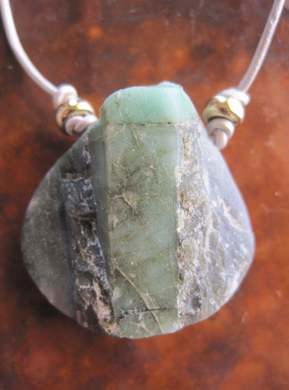 Rough Emerald Necklace on Silver Leather Raw Natural Brazilian Emerald Crystal Matrix Gem Rocks Artisan Handcrafted Custom Jewelry