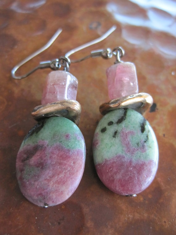 Rough Tourmaline Ruby Zoisite Earrings Natural Pattern Green Black Organic Gemstones Artisan Handcrafted Jewelry