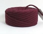 TShirt Yarn Recycled Burgundy 25 Yards Super Bulky Crafting Cord