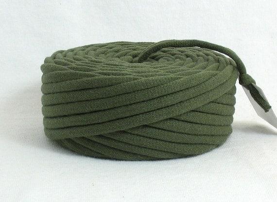 TShirt Yarn Recycled Army Green 29 Yards Super Bulky Crafting Cord