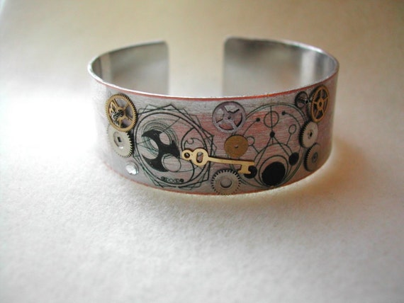 Doctor Who Steampunk Cuff Bracelet with Time Lord in Gallifreyan symbols
