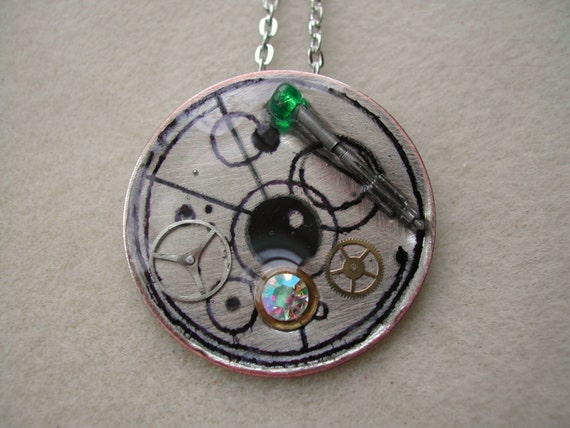 Doctor Who Gallifreyan symbol and Sonic Screwdriver necklace