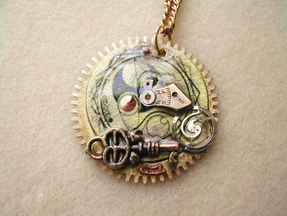 Doctor Who Gallifreyan symbol steampunk necklace