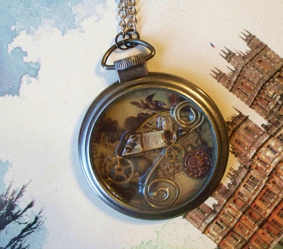 """Steampunk Pocket Watch Necklace """"Map of the World"""""""