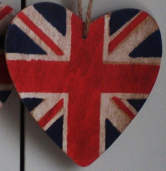 Union Jack Wooden Hanging Heart decoration