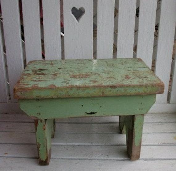 Antique Primitive bench Step Stool ChipPy Green Paint