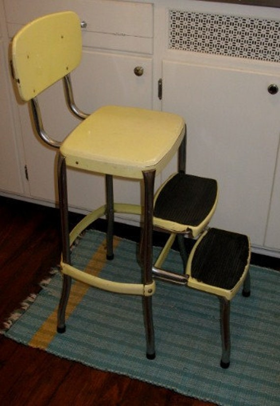 Vintage Retro Folding Step Stool Yellow With Chrome