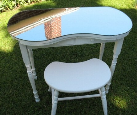 Reserved For Rich Vintage Kidney Shaped Vanity Table W Mirror