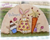 E PATTERN - Spring Greetings - Bunnies & Treats - New design from Terrye French, Painted By Me