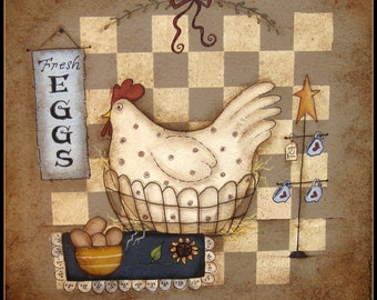 E Pattern - Chicken in a Basket -  Designed by Terrye French, Painted by Sharon Bond - FAAP