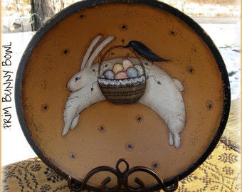 E PATTERN - Prim Bunny Bowl - Bunny & Crow Egg Delivery - Design Terry French, Painted by Sharon Bond - FAAP