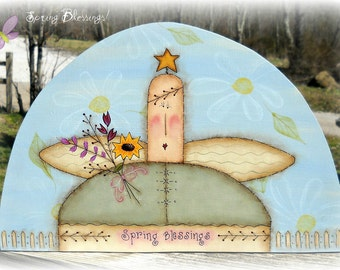 E PATTERN - Spring Blessings Angel - - Designed by Rhonda Bowers & Painted By Me, Sharon Bond - FAAP