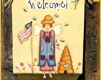 E PATTERN - Bee Welcome Summer - Americana Summer Angel - Designed by Terrye French and Painted by me, Sharon B. - FAAP