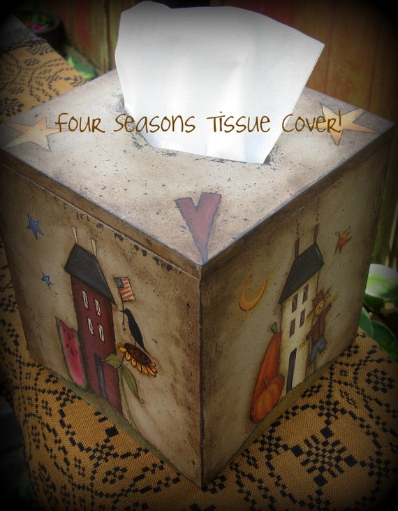 E PATTERN - 4 Seasons Tissue Box Cover - Design by Terrye French - Painted by Me, Sharon B - FAAP