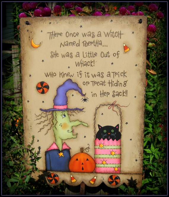 E PATTERN - Bertha the Witch - With a Clever Saying! - Designed & Painted by Me, Sharon B. -  FAAP