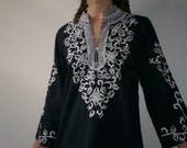 SALE  33% OFF vintage embroidered black and white tunic