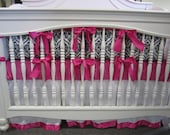 Hot Pink With Black and White Crown Minky With White Trimmed Skirt- 4 Piece Set Crib Bedding Set