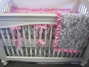 Gray Damask 4 Piece Set Crib Bedding Set