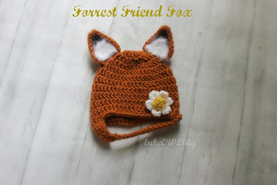 Fox hat Forrest Friend Fox hat newborn IN STOCK boy or girl ready to ship chinstrap beanie