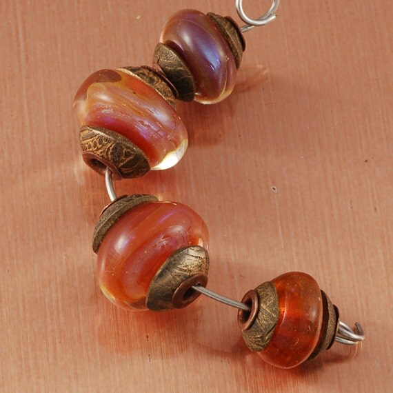 Lampwork Beads in Caramel with  Patina Bronze Caps Ancient Medieval  Pudding Beads