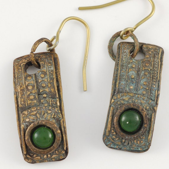 Bronze and Jade Earrings with Niobium Ear Wires