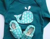 Organic SHORT Sleeve Whale Monaco Blue Gift Set 0 3 6 12 18 months- Eco Friendly Clothing- Baby Clothes Organic Cotton