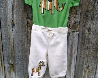 Safari Organic Cotton Bodysuit and Pants with handmade elephant, giraffe and jeep appliques in organic stripes- Size 0  6 12 18 months