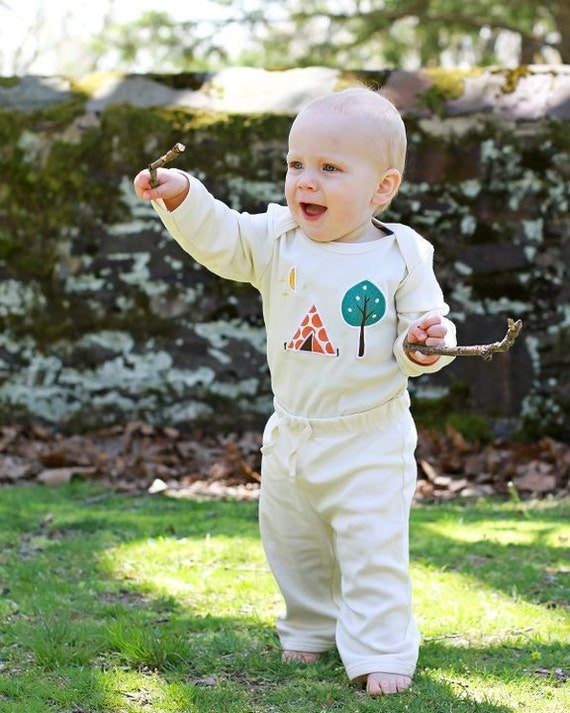 Organic Baby Long Sleeve Cotton Camping Themed one piece and pant set with VW bus on bottom- Children's Clothing Eco Friendly