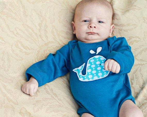 Ready to Ship Long Sleeve Organic Whale Applique Organic Baby Boy - Organic 12- 18 months Gift for Baby- Baby Clothes Eco Friendly