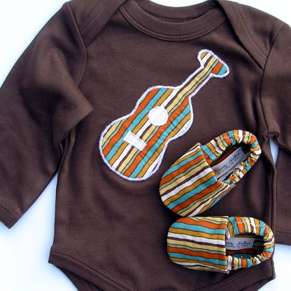 Organic Baby - SHORT sleeve Guitar Gift Set- 0 3 6 12 18 months Brown Bodysuit with Guitar and Organic Shoes in Stripes-- Baby Clothes