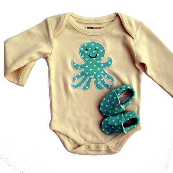 6-12 months Octopus Organic Baby Gift Set- LONG sleeve Organic Natural One Piece with Organic Octopus Applique and Organic Crib Shoes