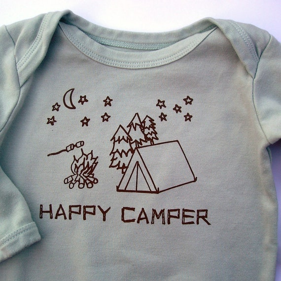 0-3 months Happy Camper Sage Green Hand-printed Silk Screen Organic Baby Bodysuit for Boy or Girl Long Sleeves