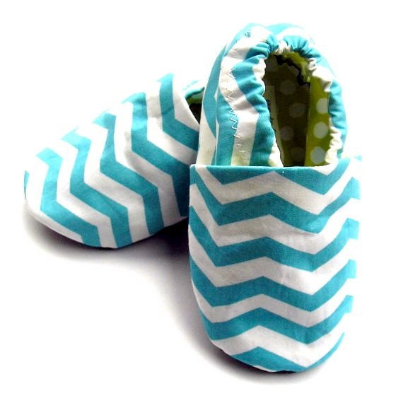 6-12 months Organic Baby Blue Chevron Stripes Shoes in Turquoise and White with Lime Green Dotty Linings Handmade Booties