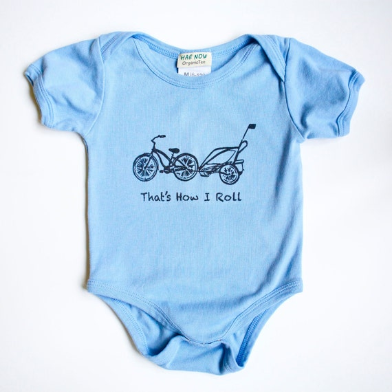 Cruiser Bike and Chariot Organic  Sky Blue Bodysuit 12-18 months SHORT Sleeve- That's How I Roll -- Baby Clothes