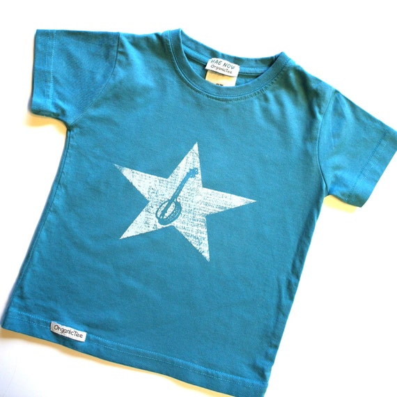 Toddler T-shirt Organic and Fair Trade Ceritifed Ocean Blue Banjo Baby with distressed star- hand-drawn and hand-printed- Baby Clothes