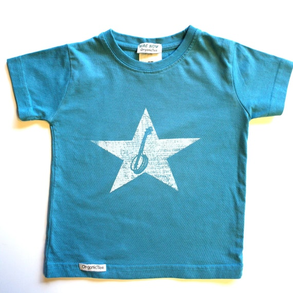 4T Organic and Fair Trade Ceritifed Ocean Blue Banjo Baby with distressed star- hand-drawn and hand-printed by the artist